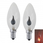 E14 3W 400LM Red Light Flame-Shaped LED Lamp Bulb (2PCS, AC 100-240V)