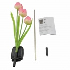 0.6W Solar Powered 3-LED Tulip Flowers Light Sensitive Garden Lamp - Pink + Green