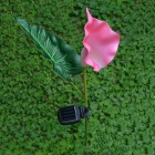 0.6W Solar Powered LED Calla Light Sensitive Garden Lamp - Pink + Green