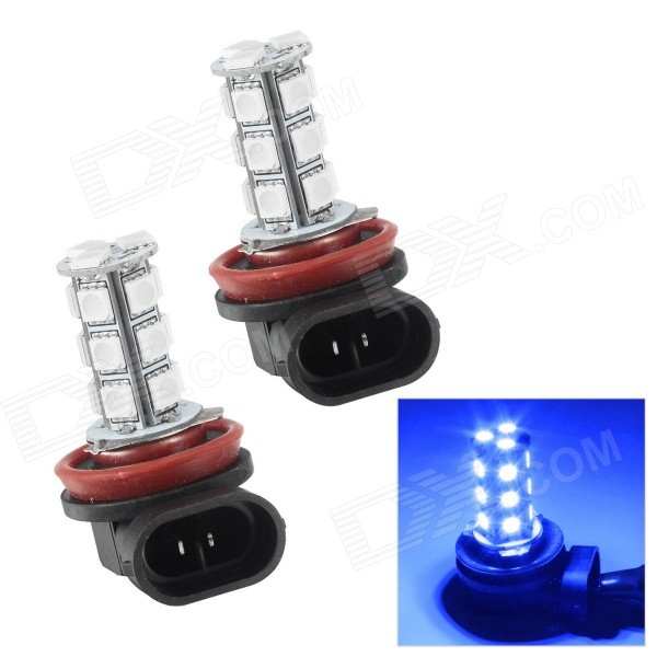 цена на  Merdia H8 18-SMD 5050 LED 3W 110lm 10000K Blue Light Car Foglight (12V / 2PCS)