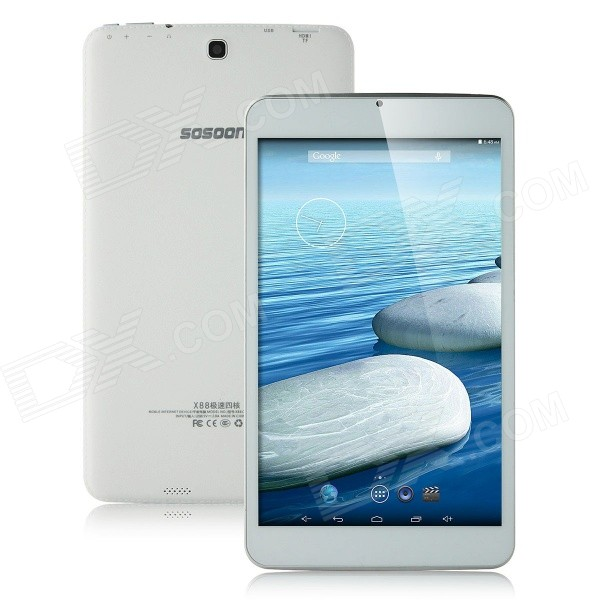 SOSOON X88 Quad-Core 8 IPS Android 4.4 Tablet PC w/ 1GB RAM,8GB ROM,HDMI, GPS, Bluetooth -  White sosoon x88 quad core 8 ips android 4 4 tablet pc w 1gb ram 8gb rom hdmi gps bluetooth white