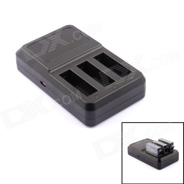 PANNOVO G-770 Super Mini 3-Slot Battery Charger for GoPro Hero 4 - Black