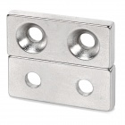 28*12*4mm 2-Hole Square NdFeB N35 Magnet - Silver (2 PCS)