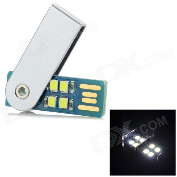 L-01 Mini 0.6W 60LM 5600K White Light 4-LED USB Light - Silver