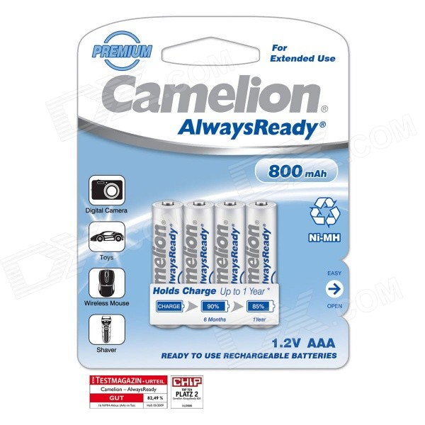 Camelion AlwaysReady 800mAh Ni-MH AAA Rechargeable Batteries (4 PCS) 8pcs pkcell battery aaa pre charged nimh 1 2v 1200mah ni mh 3a rechargeable batteries up to 1000mah capacity cycle 1200times