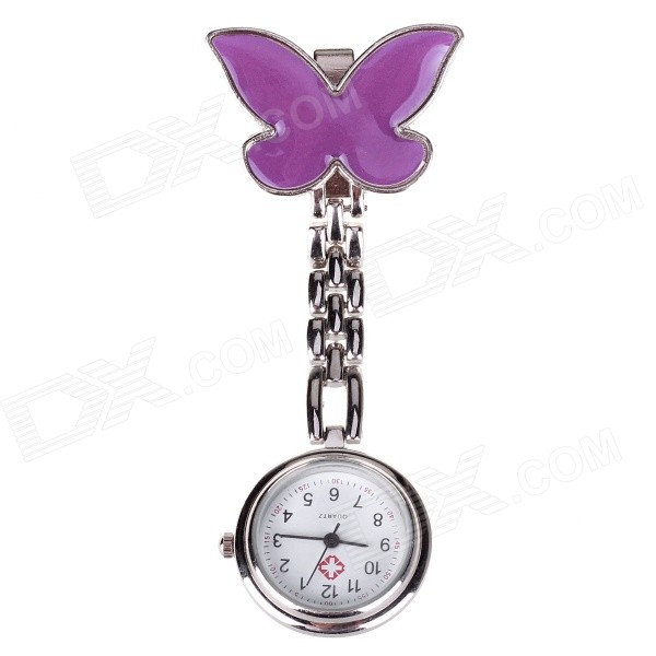 Butterfly Needle Buckle Chain Design Pocket Quartz Analog Watch for Doctor Nurse - Purple (1 x 377) 100pcs box zhongyan taihe acupuncture needle disposable needle beauty massage needle with tube