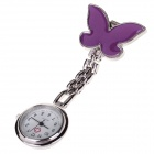 Butterfly Needle Buckle Chain Design Pocket Quartz Analog Watch for Doctor Nurse - Purple (1 x 377)