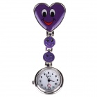 Heart-shaped Needle Buckle Chain Design Doctor Nurse Pocket Quartz Analog Watch - Purple (1 x 377)