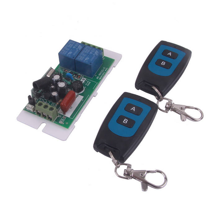 DIY Electronics 368078 ZnDiy-BRY ZBYA3 220V 2-CH Remote Control Switch Board + Two 2-Button Waterproof Remote Control