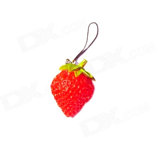 Creative Cute Strawberry Style Keychain - Red + Green creative strawberry style fruit picks forks 10 fork set