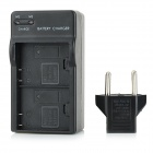 US Plugs Battery Charger + Dual 3.7V 900mAh Li-ion Batteries + EU Plug Adapter Set for SJ4000 - Black