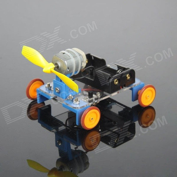 DIY Educational Assembled Single-Bladed Wind-Powered Car Vehicle Toy - Blue + Orange + Multicolor diy assembly solar power car toy blue black orange