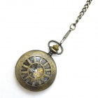 Masculina Retro oco Out Estilo Analog Mecânica Zinc Alloy Pocket Watch - Bronze Antique