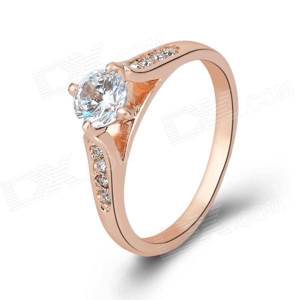 KCCHSTAR Women's Trendy Rhinestone-studded Gold-plated Ring - Gold + Translucent White (US Size: 8)