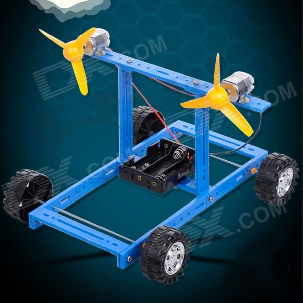 DIY Educational Assembled Wind Powered Car Vehicle Toy for Children / Kids - Blue + Yellow + Black cool intellectual development diy toy car black blue 2 aa