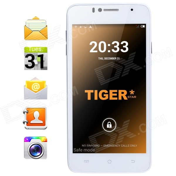 Tiger S52 Android 4.4 Quad-Core WCDMA Phone w/ 5, 8GB ROM, Bluetooth, Dual Camera, GPS - White (EU) tiger s52 android 4 4 quad core wcdma phone w 5 8gb rom bluetooth dual camera gps white eu