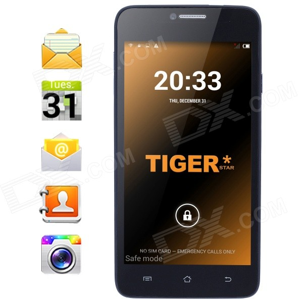 Tiger S52 Android 4.4 Quad-Core WCDMA Phone w/ 5, 8GB ROM, Bluetooth, Dual Camera, GPS - Black (EU) zooz n910f android 4 4 quad core 3g phone w 5 7 8gb rom gps bluetooth wifi black