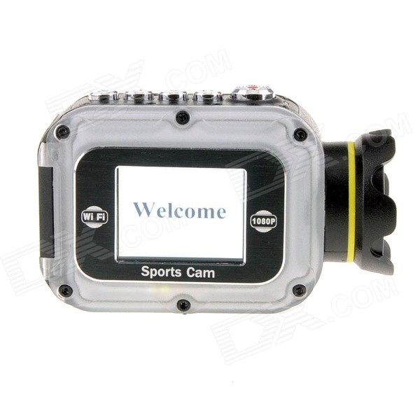 W5 Waterproof HD 1080P 1.5 LCD 2/3 CMOS 12MP Wi-Fi Sports Camera w/ Mini HDMI / TF - White ishare s200 2 0 lcd cmos 1080p full hd waterproof sport camera for bike surfing outdoor sports