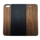"Protective PU Leather + PC + Wooden Case for IPHONE 6 4.7""- Wooden + Black"