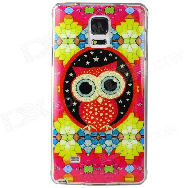 Cartoon Owl Pattern Protective TPU Back Case for Samsung Galaxy Note 4 - Red + Yellow + Black 2 in 1 detachable protective tpu pc back case cover for samsung galaxy note 4 black