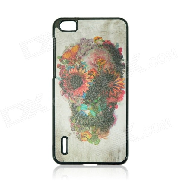 Skull Pattern Protective PC Back Case Cover for Huawei Honor 6 - Brown + Multicolor