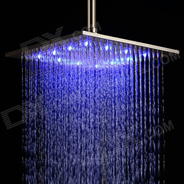 YDL-BD003-1 12 Temperature Control 7-LED RGB Light 304 Stainless Steel Square Shower Head - Silver ydl bd007 1 24 temperature control 40 led rgb light 304 stainless steel square shower head silver