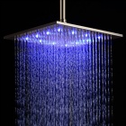 "YDL-BD003-1 12"" Temperature Control 7-LED RGB Light 304 Stainless Steel Square Shower Head - Silver"