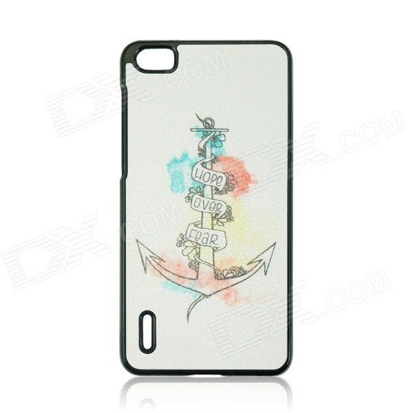 Anchor Pattern Protective PC Back Case Cover for Huawei Honor 6 - White + Black + Multicolor