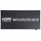 Aoluguya AL01 3D 1080P 2 x 8 HDMI 1.4a Switch / Splitter w/ US Plug - Black