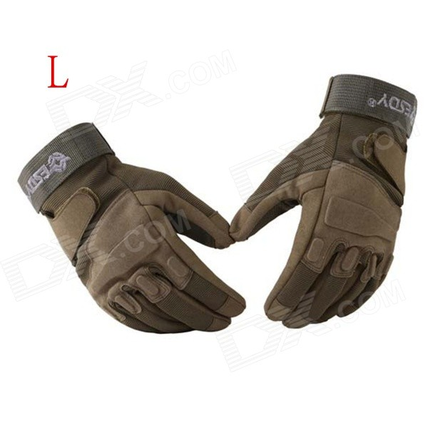 ESDY HYL-2 Outdoor Sports Full-Finger PU Tactical Gloves - Army Green (L / Pair) esdy esdym 3 outdoor cycling anti slip breathable full finger pu tactical gloves tan m