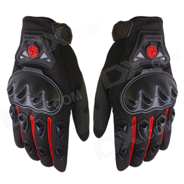 Scoyco Sporty Full-Finger Anti-Slip Motorcycle Gloves - Red (Pair / Size M) pro biker mcs 04 motorcycle racing half finger protective gloves red black size m pair