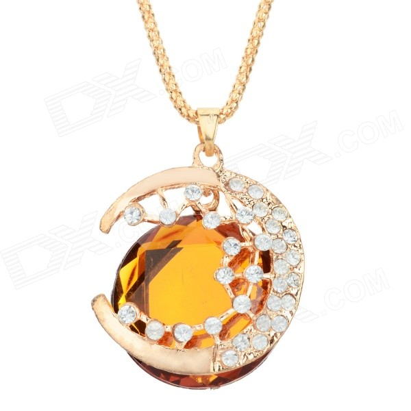 Women's Elegant Rhinestone Inlaid Zinc Alloy Pendnant Necklace - Golden