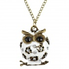 Women's Fashion Owl Style Rhinestone Inlaid Zinc Alloy Necklace - White