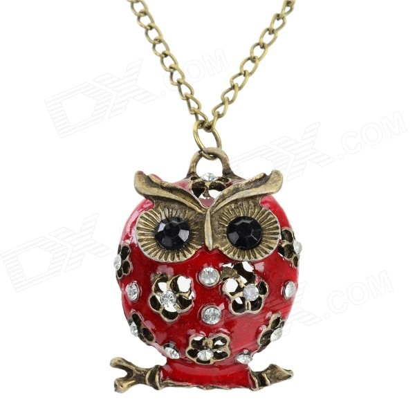 Women's Fashion Owl Style Rhinestone Inlaid Zinc Alloy Necklace - Red