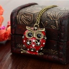 Mode Femme Owl style strass incrusté collier en alliage de zinc - Rouge