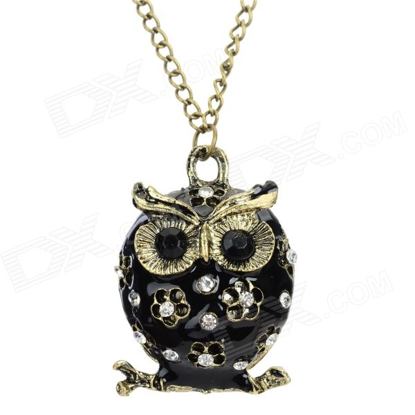 Women's Fashion Owl Style Rhinestone Inlaid Zinc Alloy Necklace - Black