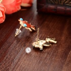 Women's Fashion Goldfish Style Zinc Alloy Ear Studs - Red (Pair)
