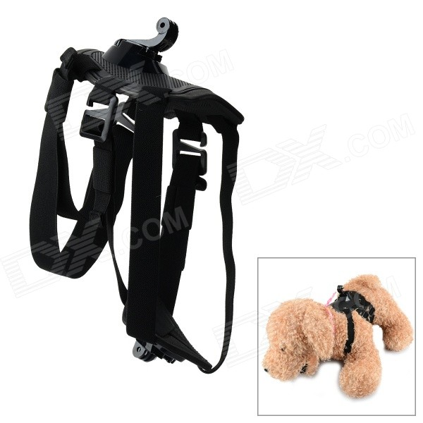 Camera Dog Leash Harness Strap for GoPro Hero 4 / 3+ / 3 - Black new women gladiator sandals ladies pumps high heels shoes woman clear transparent t strap party wedding dress thick crystal heel