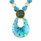 Fashionable Water Drop Style Pendant Necklace - Blue + Golden