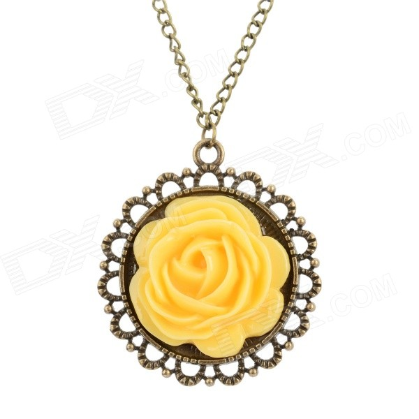 Women's Fashion Flower Style Zinc Alloy + Resin Pendant Necklace - Yellow