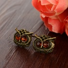 Women's Cute Owl Style Rhinestone Inlaid Zinc Alloy Ear Studs - Antique Bronze + Brown (Pair)