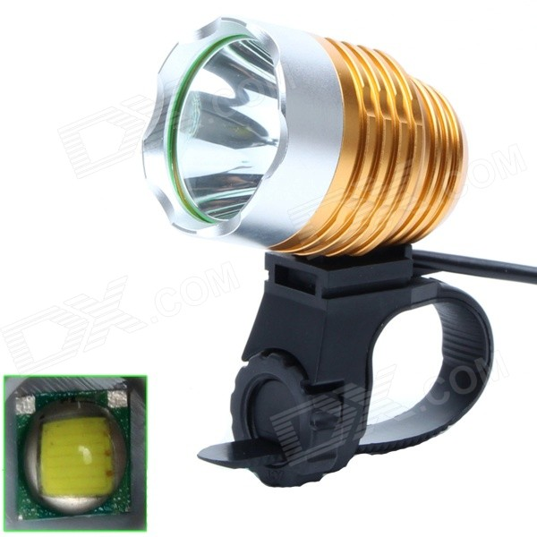 ZHISHUNJIA 810lm 6-Mode 1-LED White Light 3.7~8.4V USB Powered Bike Headlamp - Golden + Silver