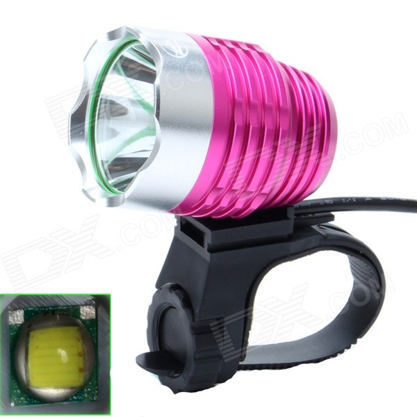 ZHISHUNJIA 810lm 6-Modo Luz Blanco 1-LED 3.7 ~ 8.4V USB Powered Bike Faro - rosa + Deep Silver