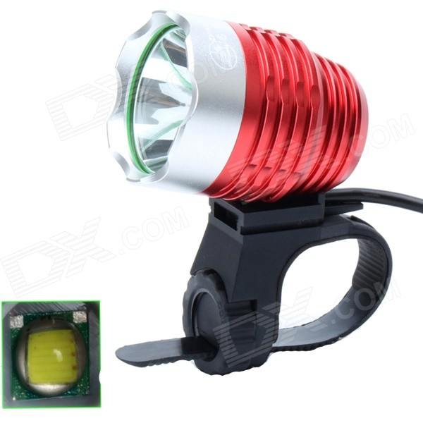 ZHISHUNJIA 810lm 6-Mode 1-LED White Light 3.7~8.4V USB Powered Bike Headlamp - Red + Silver