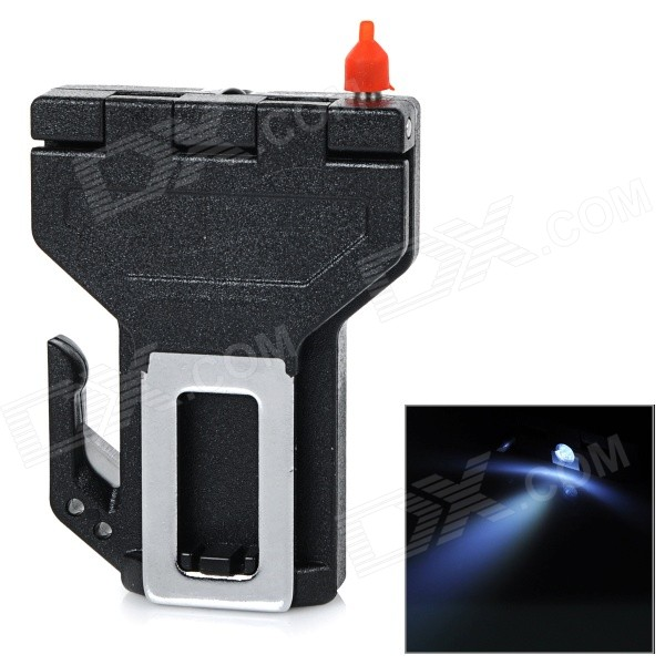 Car Safety Buckle w/ Emergency / Survival Hammer / Belt Cutter Knife / LED Torch - Silver (1 x 2032)