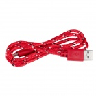 Uben US002 Universal Nylon Housing USB Male to Micro USB Data Sync & Charging Cable - Red(100cm)