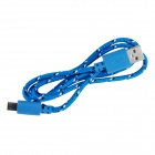 Uben US002 Universal Nylon Housing USB to Micro USB Male Data Sync & Charging Cable - Blue (100cm)
