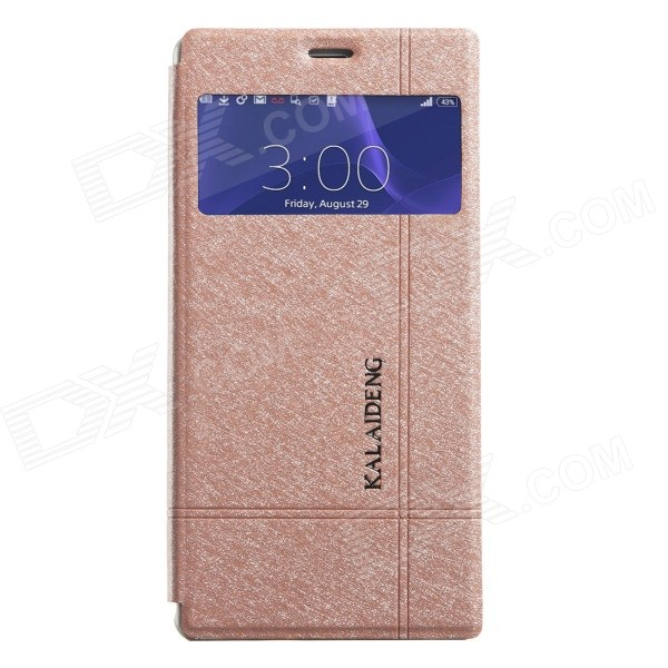 KALAIDENG Protective PU Leather Case Cover w/ Window + Stand for SONY XPERIA Z3 - Golden magnetic stand pu leather case for sony xperia z3 compact tablet case wake up sleep function cover cases screen protectors