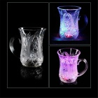 ZDB-160 Creative LED Dazzling Colorful Light Cups w/ Handle - Transparent (160ML / 4xCR2025 / 2PCS)