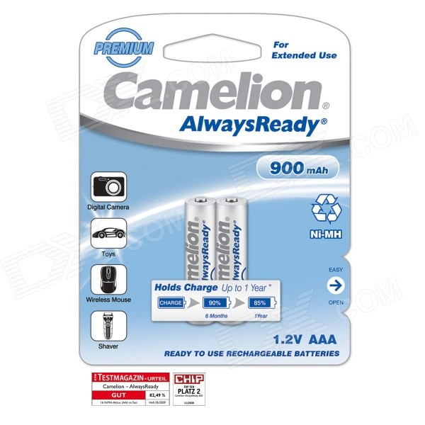 Camelion AlwaysReady 900mAh Low Self-discharge Ni-MH AAA Rechargeable Battery (2 PCS) 8pcs pkcell battery aaa pre charged nimh 1 2v 1200mah ni mh 3a rechargeable batteries up to 1000mah capacity cycle 1200times
